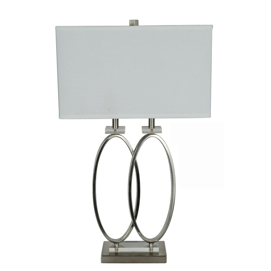 Absolute Decor 29.25-in 3-Way Nickel Finish W/Crystal Accents Indoor Table Lamp with Fabric Shade