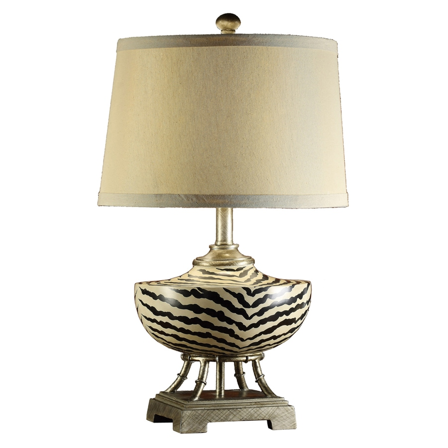 Absolute Decor 25-in 3-Way Brown, Cream and Silver Indoor Table Lamp with Fabric Shade