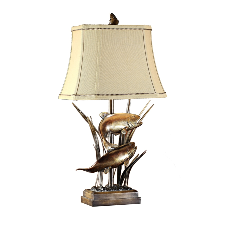 Absolute Decor 32-in 3-Way Bronze Patina Indoor Table Lamp with Fabric Shade