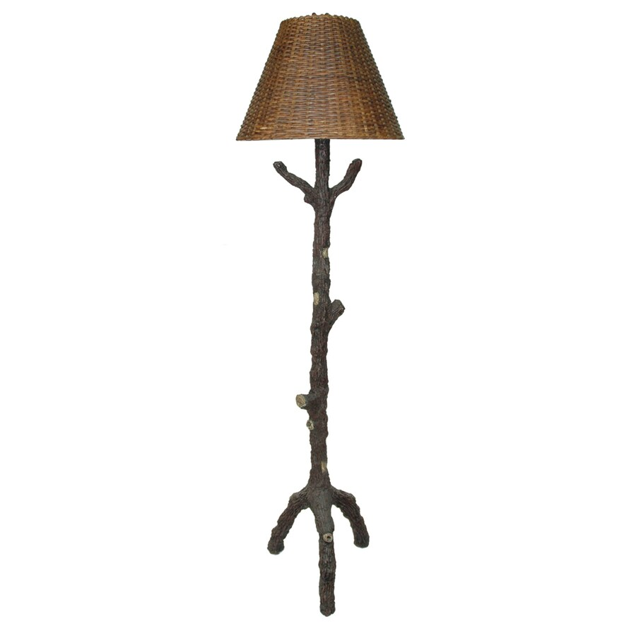 Absolute Decor 65-in Burnished Antique Silver Rustic/Lodge Indoor Floor Lamp with Plastic Shade