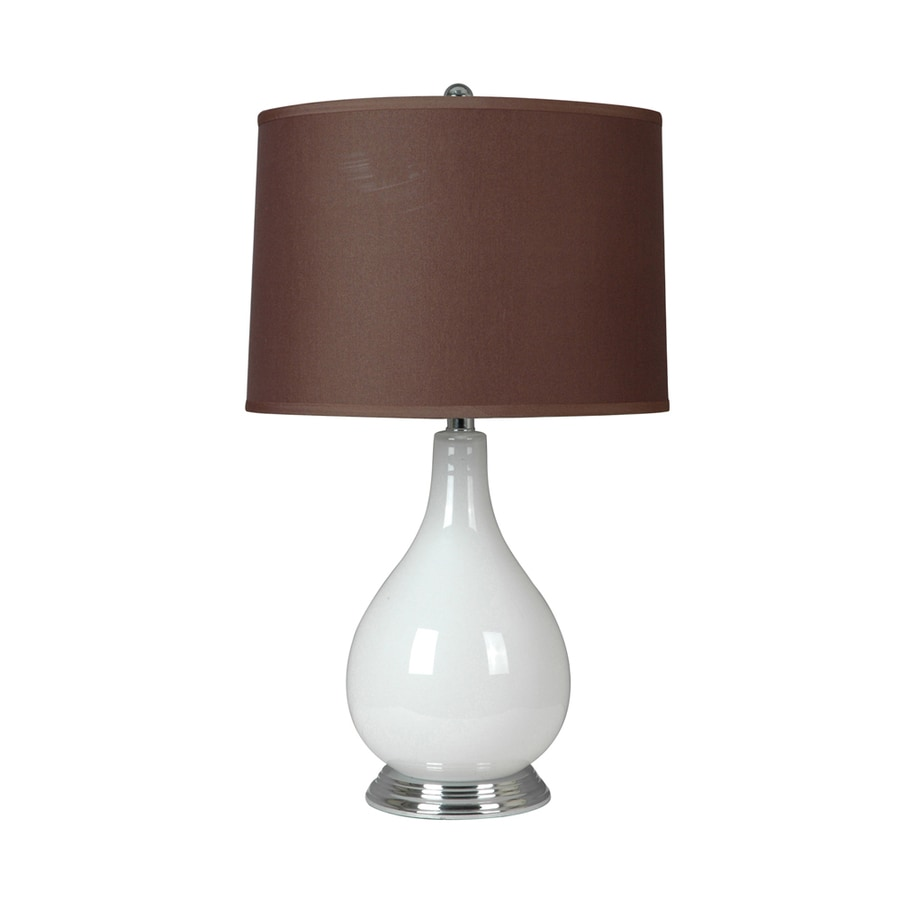 Absolute Decor 26.5-in 3-Way White and Nickel Indoor Table Lamp with Fabric Shade