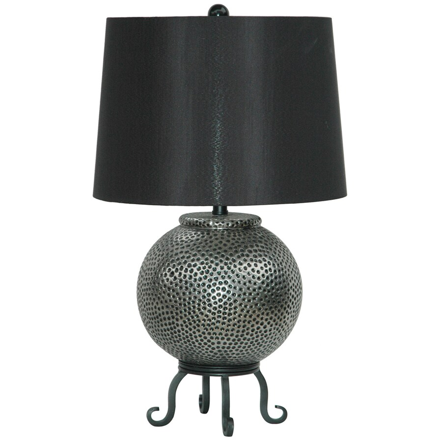 Absolute Decor 28.5-in 3-Way Silver and Black Indoor Table Lamp with Fabric Shade