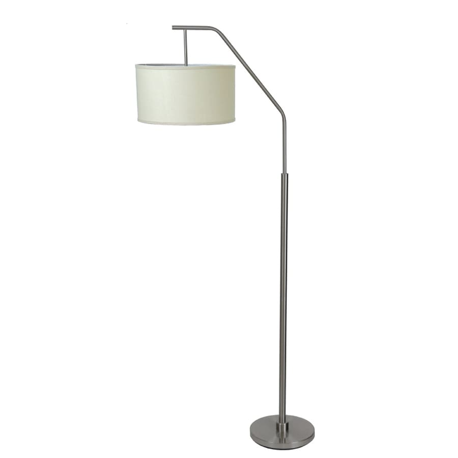 Absolute Decor 72-in Dark Amber Glass with Copper Accents Indoor Floor Lamp with Fabric Shade