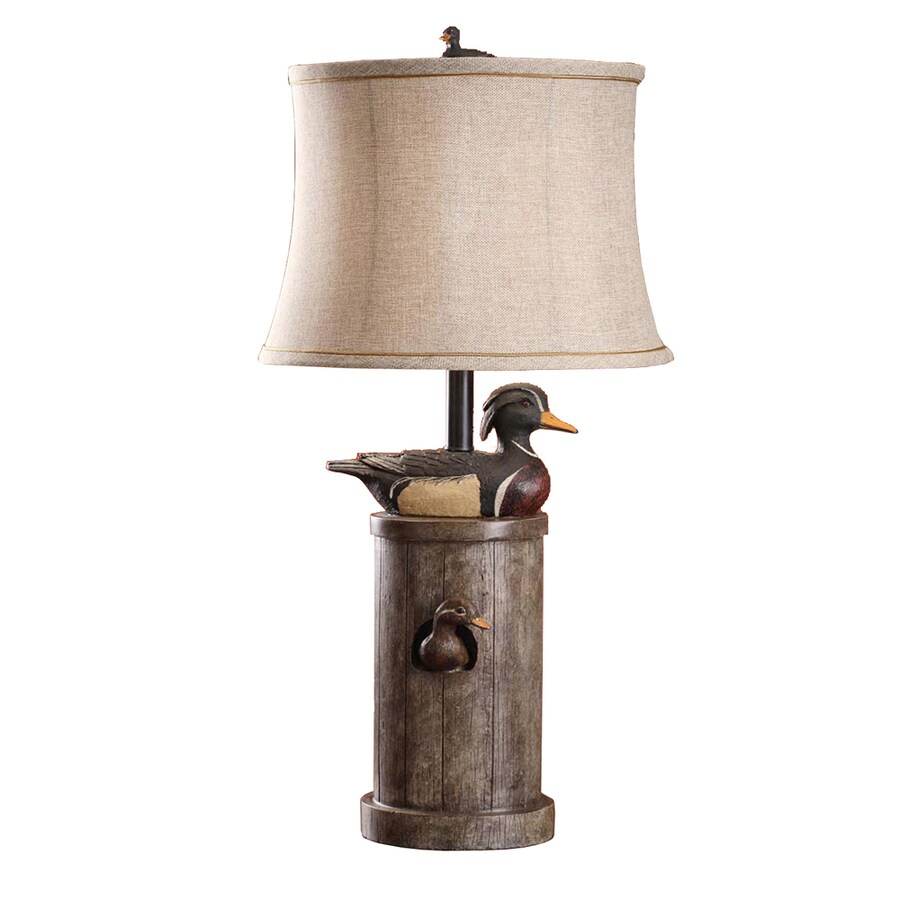 Absolute Decor 29.5-in 3-Way Faded Wood Indoor Table Lamp with Fabric Shade