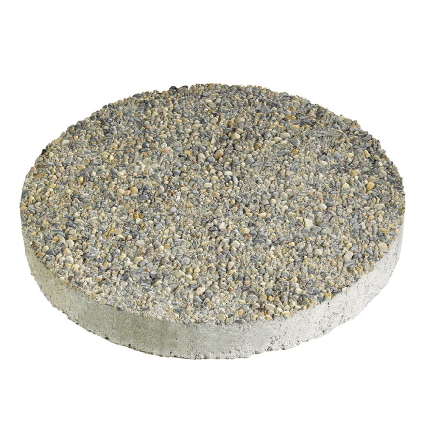 Anchor Block 12 In Gray Round Exposed Aggregate Stepping Stone
