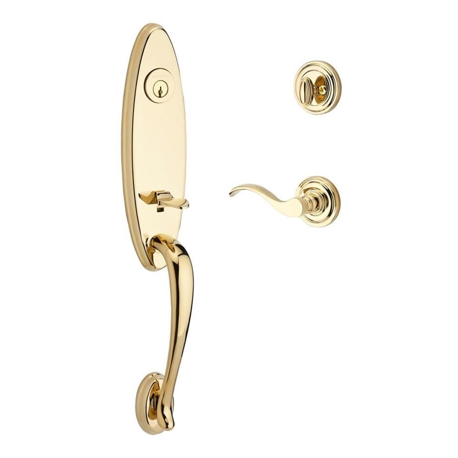 BALDWIN Reserve Chesapeake x Curve Lever Lifetime Polished Brass Single-Lock Keyed Entry Door Handleset
