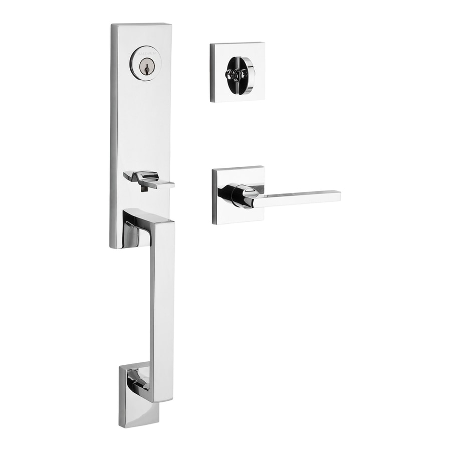 BALDWIN Reserve Seattle Lever Traditional Polished Chrome Single-Lock Keyed Entry Door Handleset