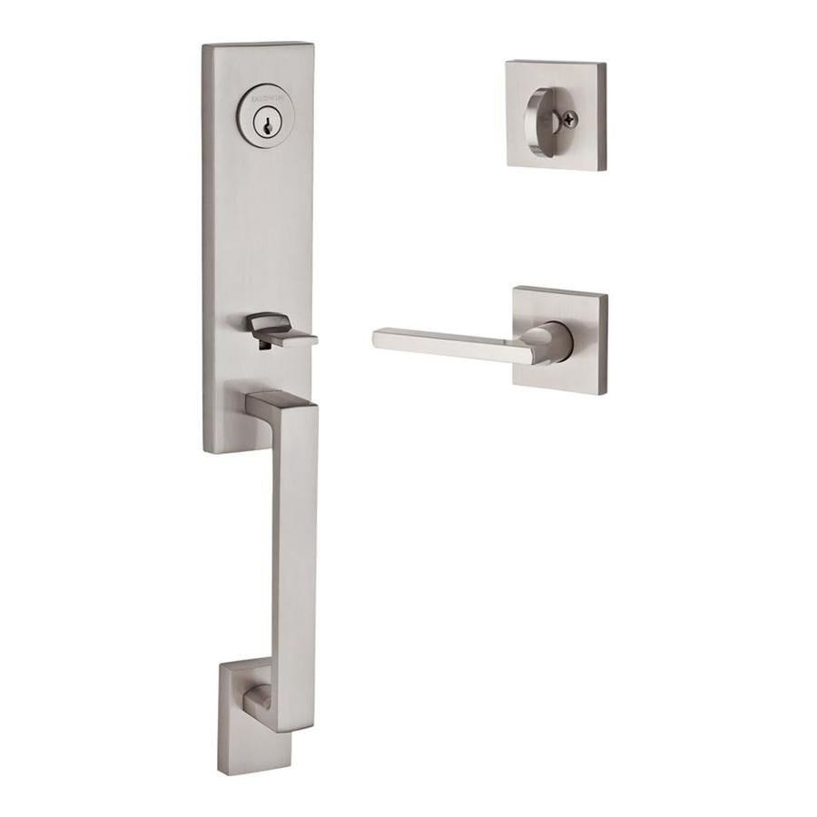 BALDWIN Reserve Longview x Taper Lever Dark Bronze Single-Lock Keyed Entry Door Handleset