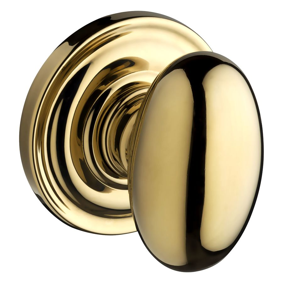 BALDWIN Reserve Ellipse Lifetime Polished Brass Egg Push Button-Lock Privacy Door Knob