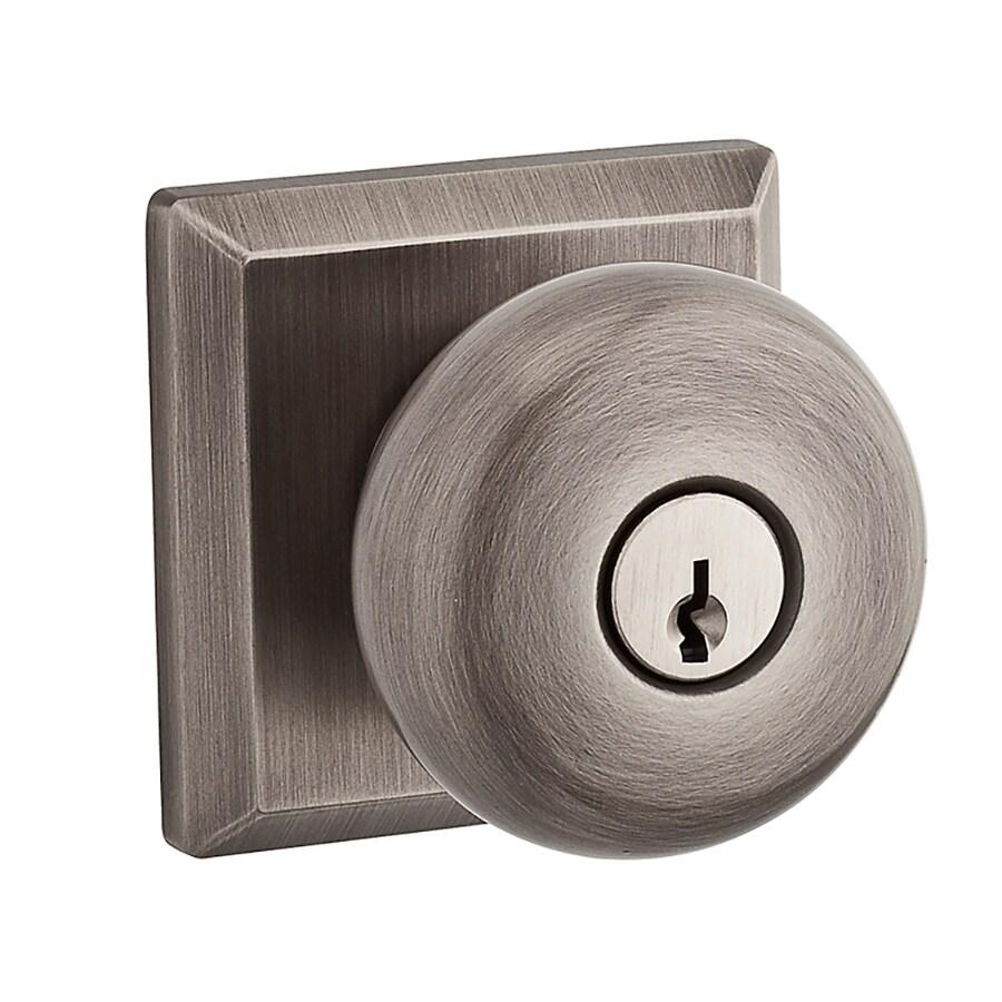 BALDWIN Reserve Round Traditional Matte Antique Nickel Round Keyed Entry Door Knob
