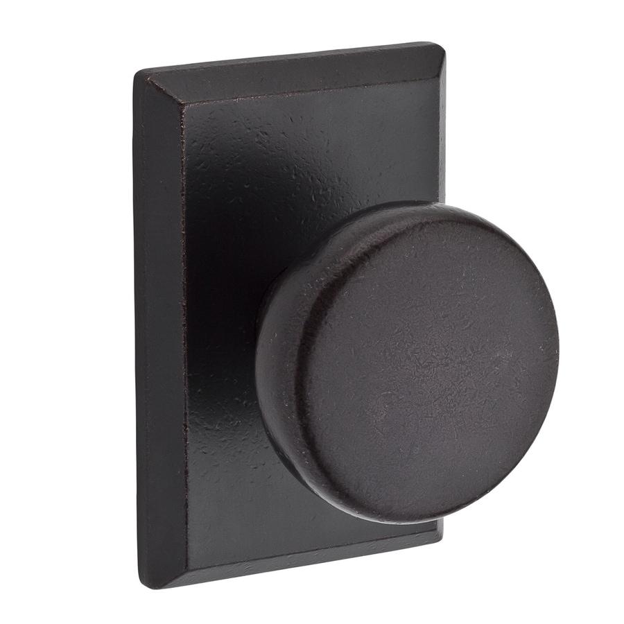BALDWIN Reserve Rustic Dark Bronze Round Push Button-Lock Privacy Door Knob