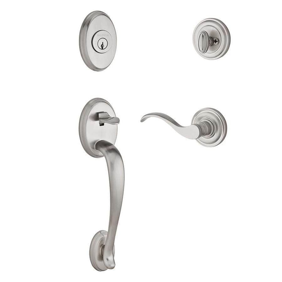 ... Door Handleset Baldwin Seattle Square Lever Satin Nickel Traditional  Keyed