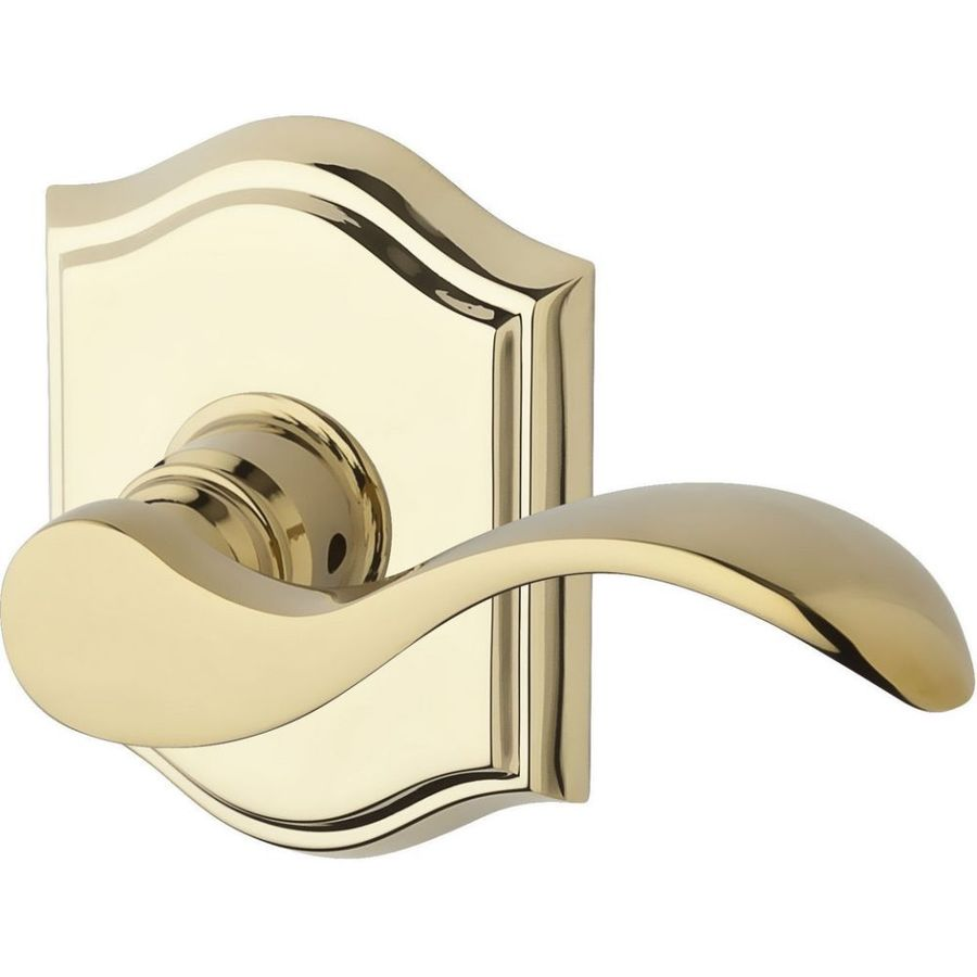 BALDWIN Reserve Curve Lifetime Polished Brass Left-Handed Dummy Door Lever