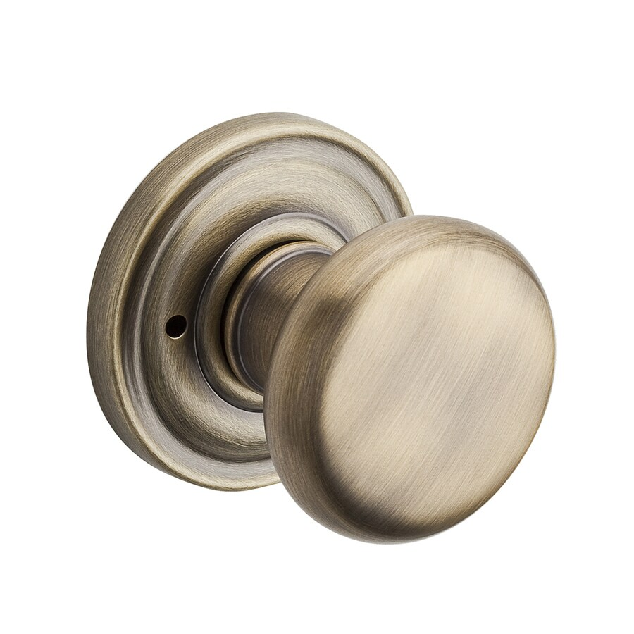 baldwin reserve matte brass and black round pushbutton lock privacy door knob - Baldwin Door Knobs