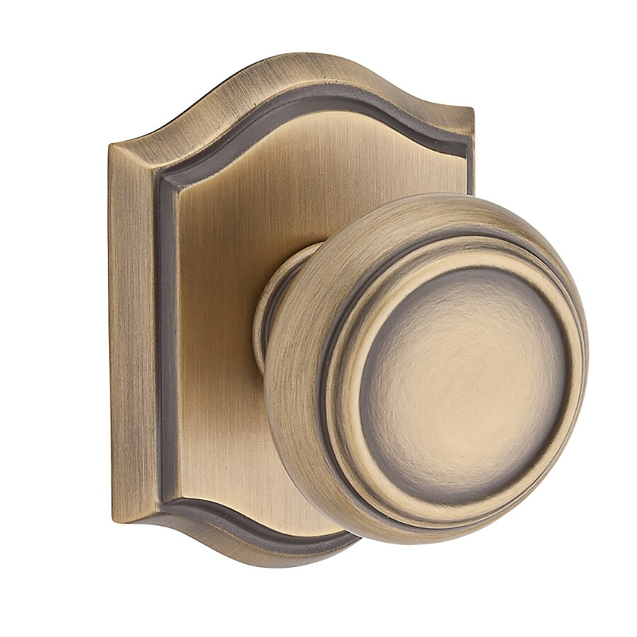 BALDWIN Reserve Traditional Matte Brass and Black Round Push-Button Lock Privacy Door Knob