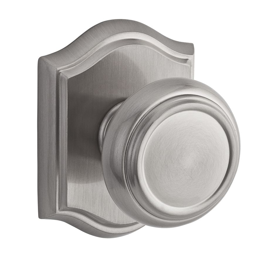 BALDWIN Reserve Traditional Satin Nickel Round Push-Button Lock Privacy Door Knob