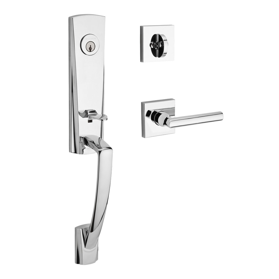BALDWIN Reserve Miami Tube Lever Traditional Polished Chrome Single-Lock Keyed Entry Door Handleset