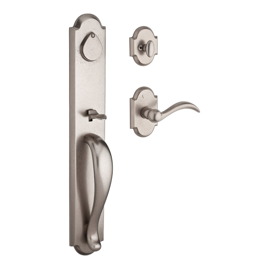 BALDWIN Reserve Elkhorn Arch Lever Traditional White Bronze Single-Lock Keyed Entry Door Handleset