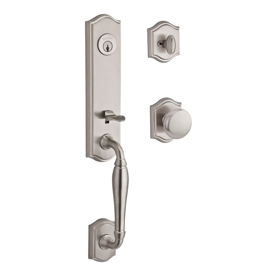 BALDWIN Reserve New Hampshire Round Knob Traditional Satin Nickel Single-Lock Keyed Entry Door Handleset