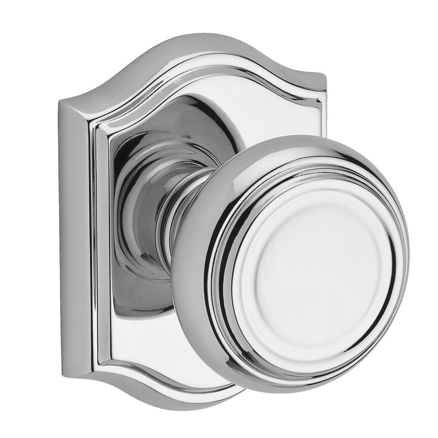 BALDWIN Reserve Traditional Polished Chrome Round Push-Button Lock Privacy Door Knob