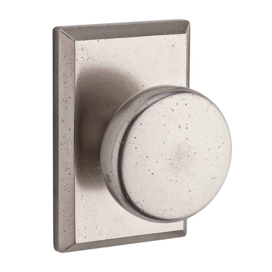 BALDWIN Reserve Rustic White Bronze Round Push-Button Lock Privacy Door Knob