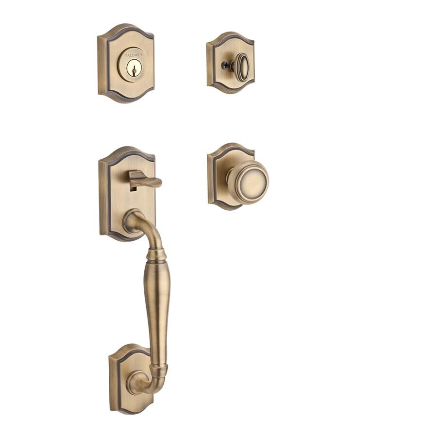 BALDWIN Reserve Westcliff x Traditional Knob Traditional Matte Brass and Black Single-Lock Keyed Entry Door Handleset