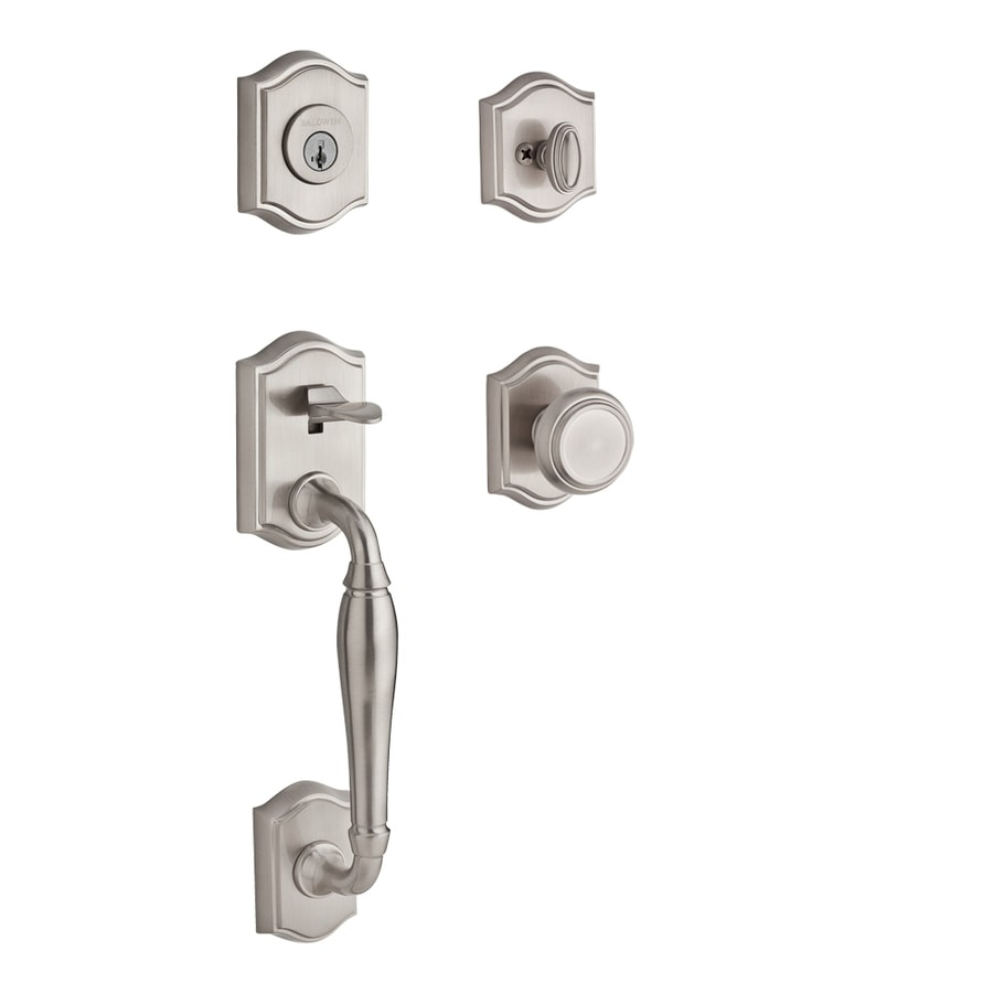 BALDWIN Reserve Westclifx Traditional Knob Traditional Satin Nickel Single-Lock Keyed Entry Door Handleset