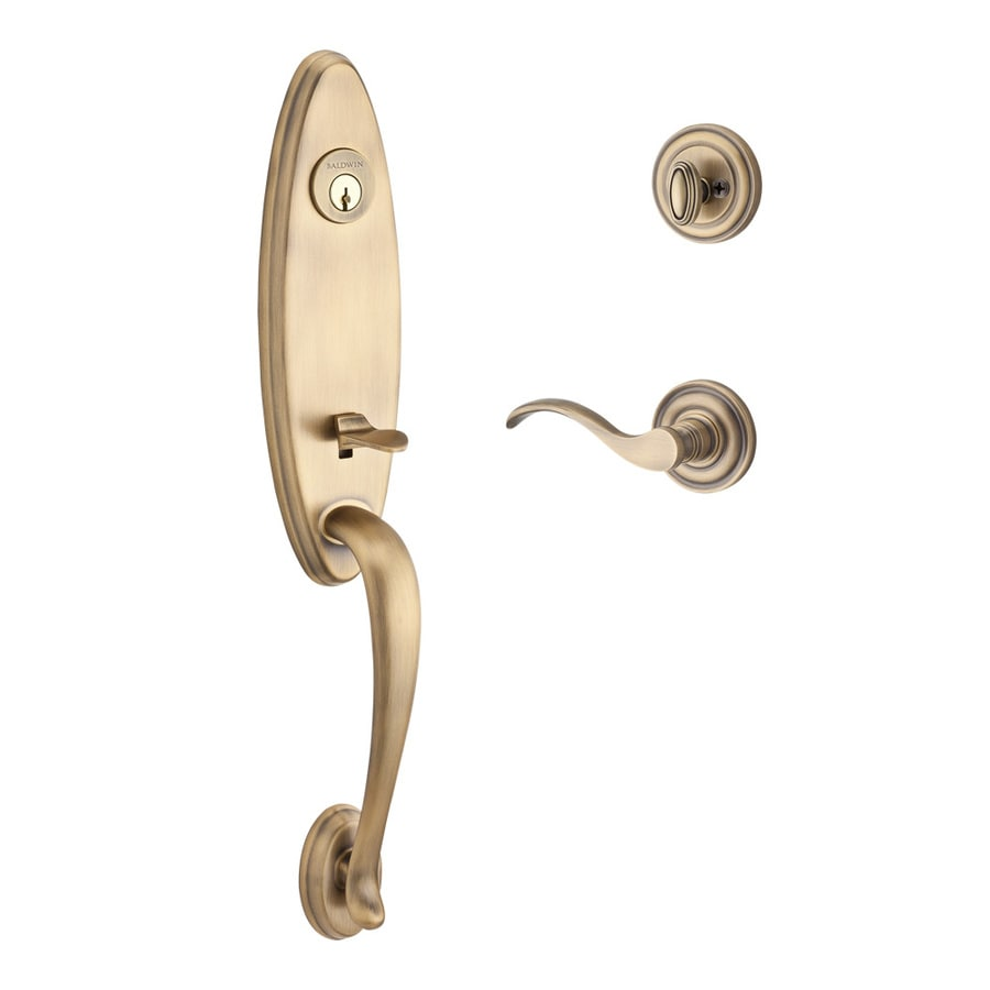 BALDWIN Reserve Chesapeake x Curve Lever Traditional Matte Brass and Black Single-Lock Keyed Entry Door Handleset