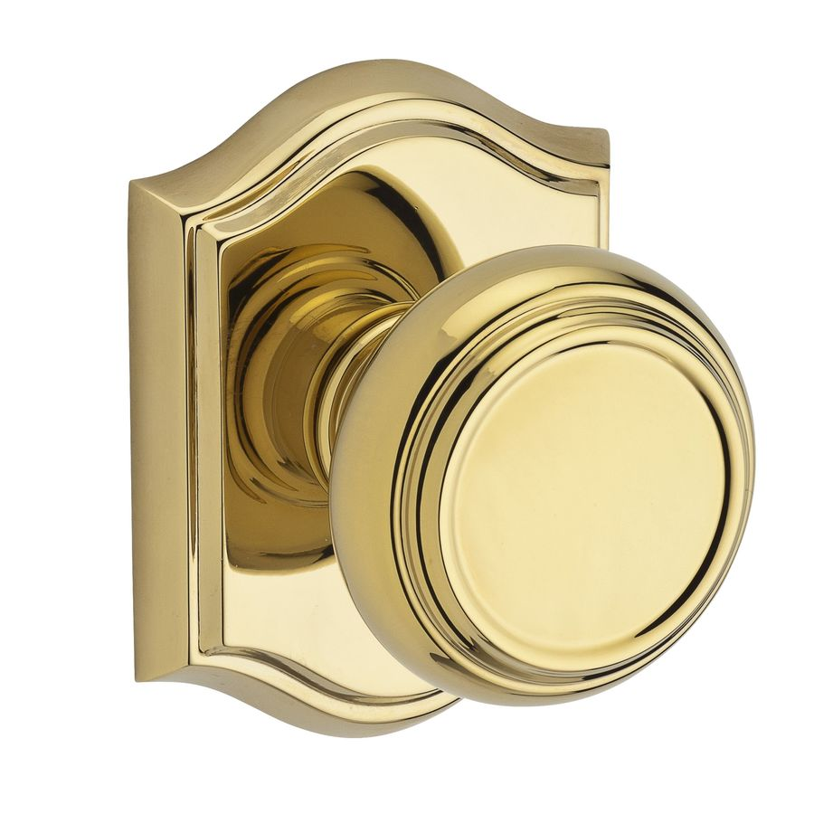 BALDWIN Reserve Traditional Lifetime Polished Brass Round Push-Button Lock Privacy Door Knob