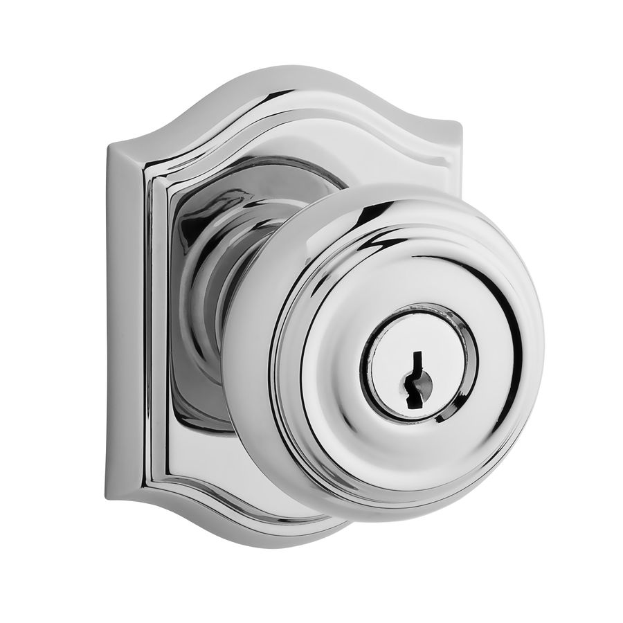BALDWIN Reserve Traditional Polished Chrome Keyed Entry Door Knob and Single-Cylinder Deadbolt Project Pack