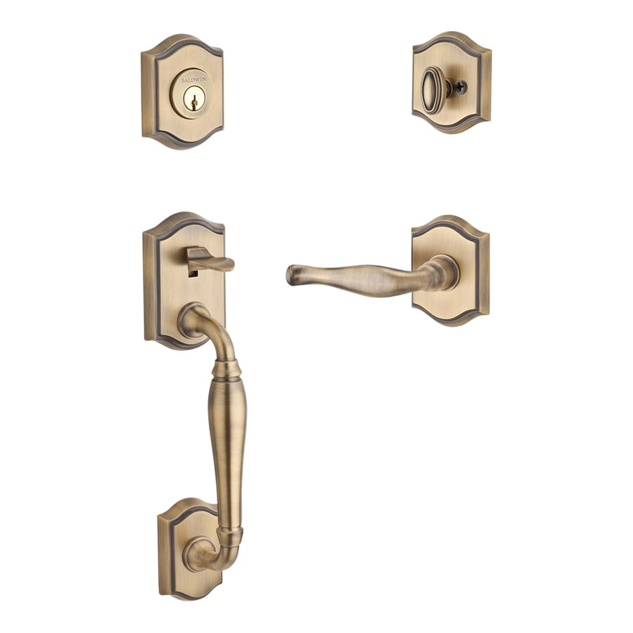 BALDWIN Reserve Westcliff x Decorative Lever Traditional Matte Brass and Black Single-Lock Keyed Entry Door Handleset