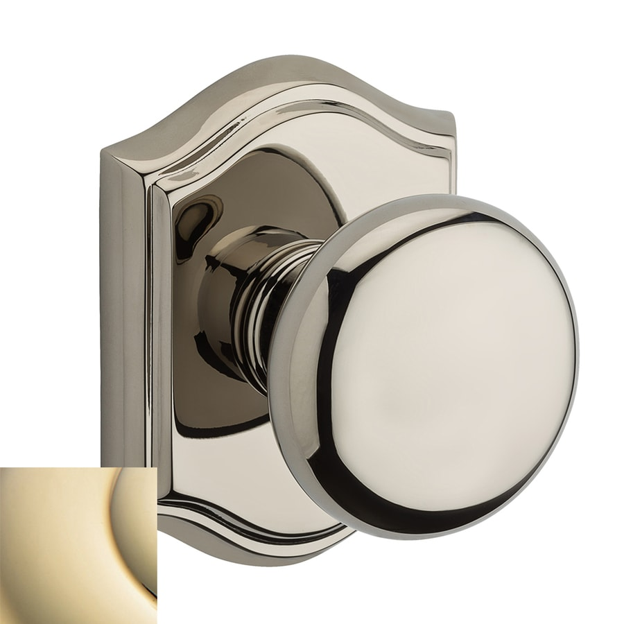 BALDWIN Reserve Lifetime Polished Brass Round Push-Button Lock Privacy Door Knob