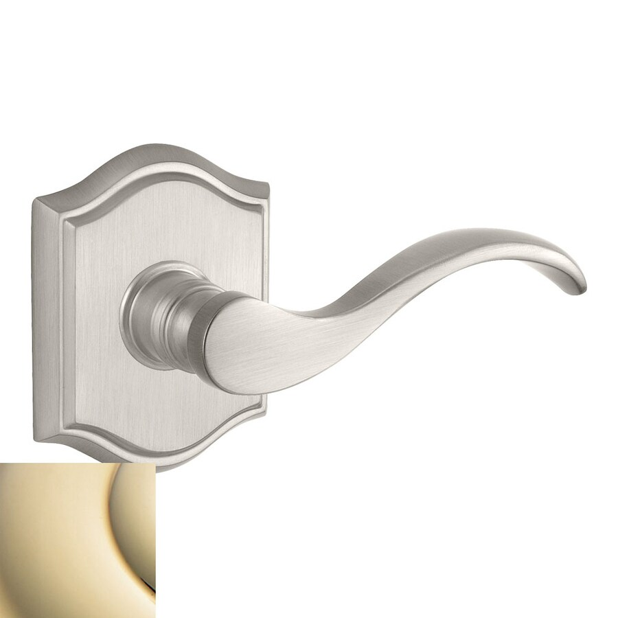 BALDWIN Reserve Curve Lifetime Polished Brass Push-Button Lock Privacy Door Lever
