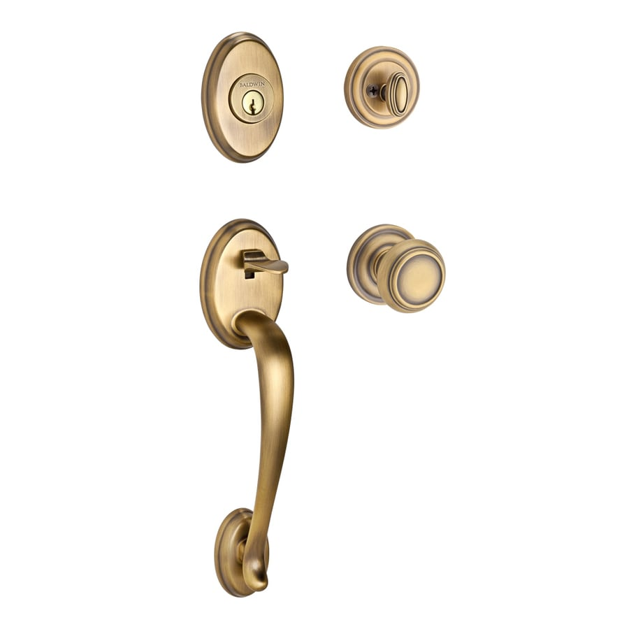 BALDWIN Reserve Columbus x Traditional Knob Traditional Matte Brass and Black Single-Lock Keyed Entry Door Handleset