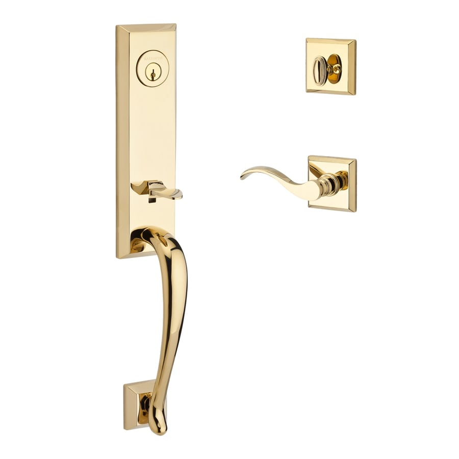 BALDWIN Reserve Del Mar Curve Lever Traditional Lifetime Polished Brass  Single Lock Keyed Entry Door