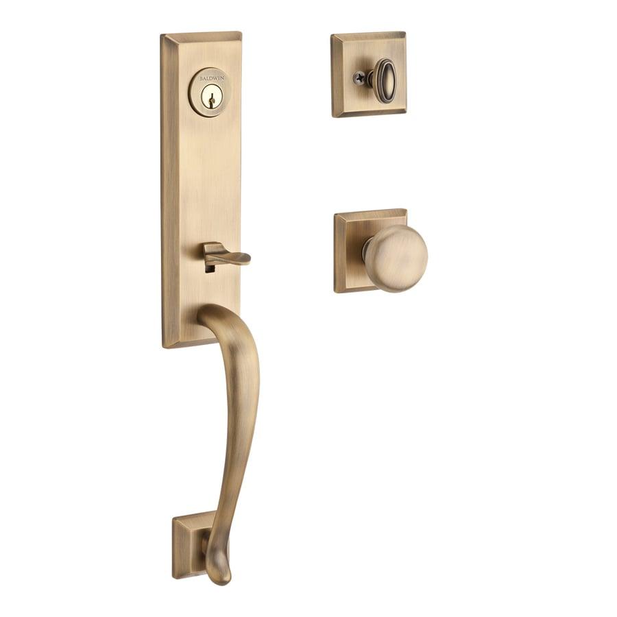 BALDWIN Reserve Del Mar x Round Knob Traditional Matte Brass and Black Single-Lock Keyed Entry Door Handleset