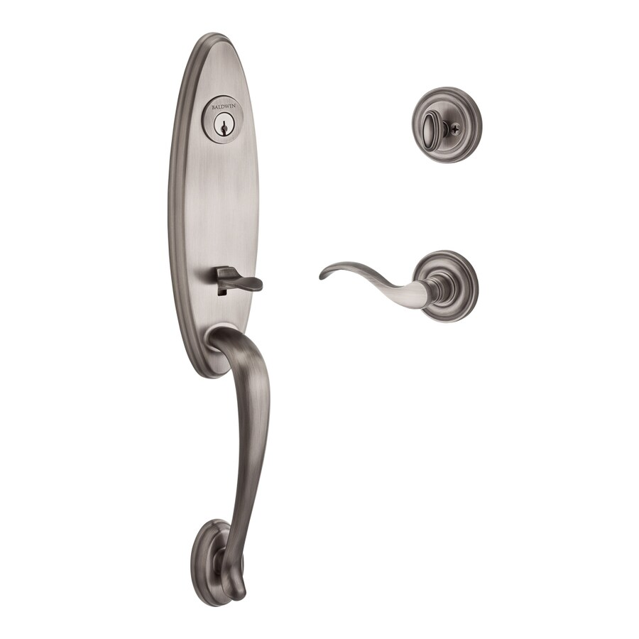 BALDWIN Reserve Chesapeake Curve Lever Traditional Matte Antique Nickel Single-Lock Keyed Entry Door Handleset