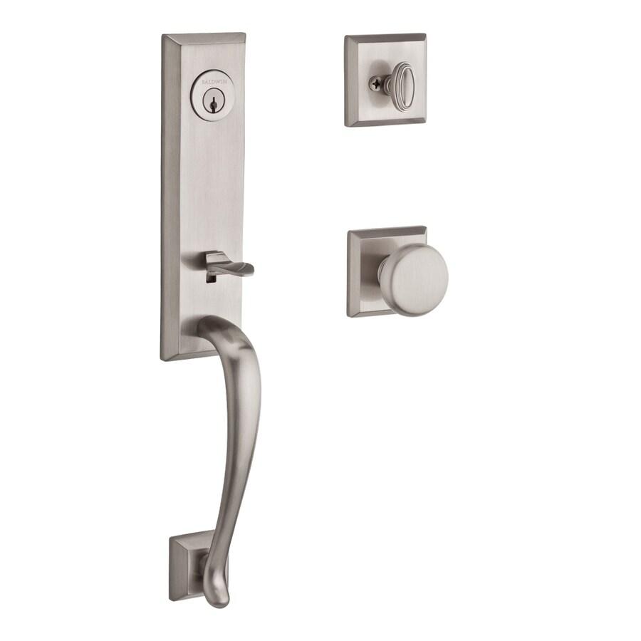 BALDWIN Reserve Del Mar Round Knob Traditional Satin Nickel Single-Lock Keyed Entry Door Handleset