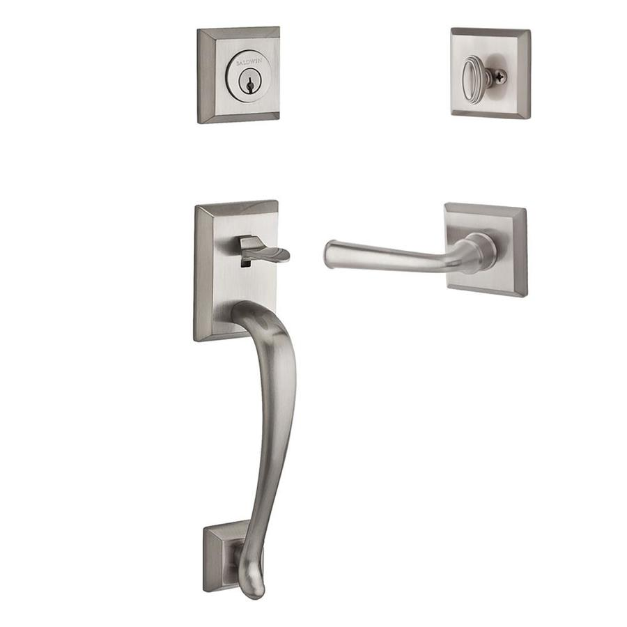 BALDWIN Reserve Napa x Federal Lever Satin Nickel Single-Lock Keyed Entry Door Handleset