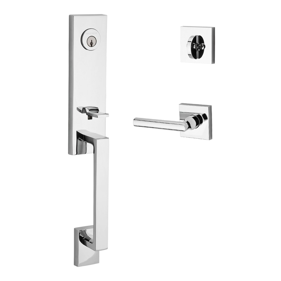 BALDWIN Reserve Seattle Tube Lever Traditional Polished Chrome Single-Lock Keyed Entry Door Handleset