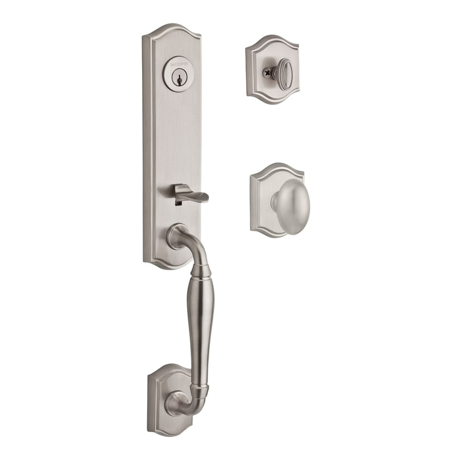 BALDWIN Reserve New Hampshire Ellipse Knob Traditional Satin Nickel Single-Lock Keyed Entry Door Handleset