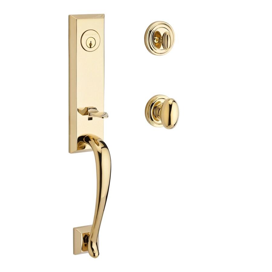 BALDWIN Reserve Del Mar Ellipse Knob Traditional Lifetime Polished Brass Single-Lock Keyed Entry Door Handleset