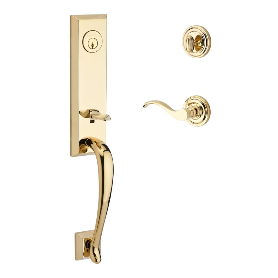 BALDWIN Reserve Del Mar Curve Lever Traditional Lifetime Polished Brass Single-Lock Keyed Entry Door Handleset