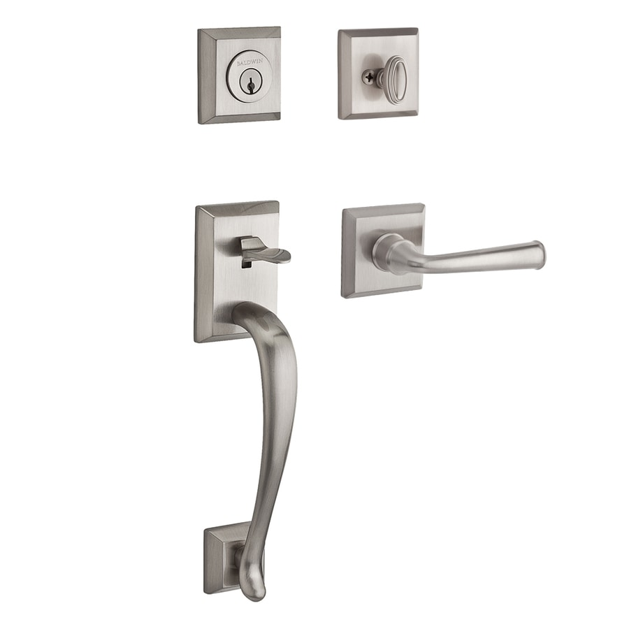 BALDWIN Reserve Napa Federal Lever Traditional Satin Nickel Single-Lock Keyed Entry Door Handleset
