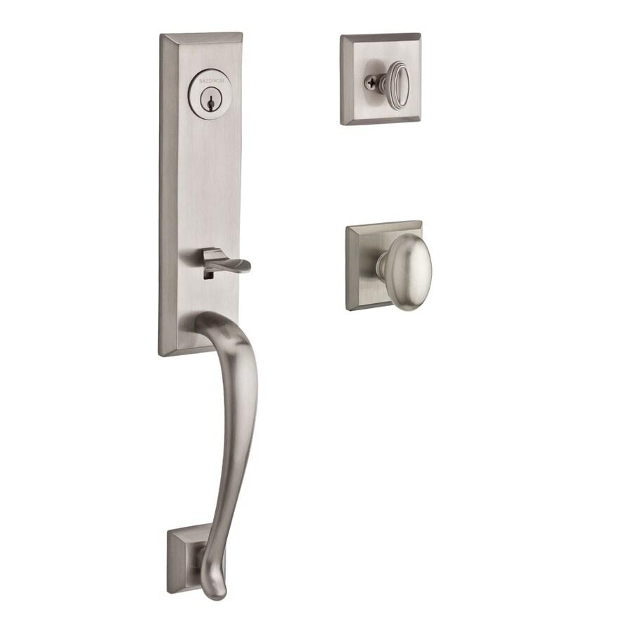 BALDWIN Reserve Del Mar Ellipse Knob Traditional Satin Nickel Single-Lock Keyed Entry Door Handleset