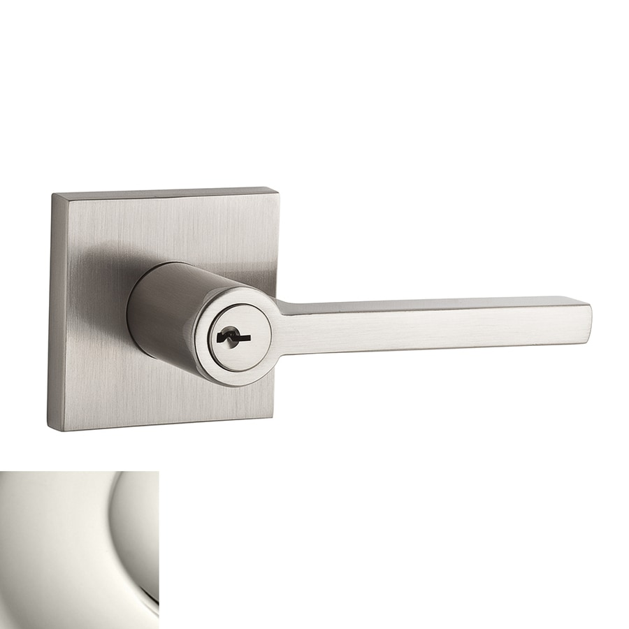 BALDWIN Reserve Square Polished Nickel Keyed Entry Door Lever
