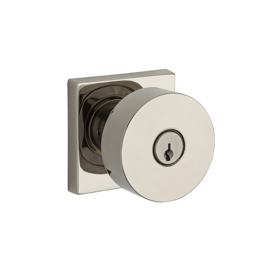 BALDWIN Reserve Contemporary Polished Nickel Round Keyed Entry Door Knob