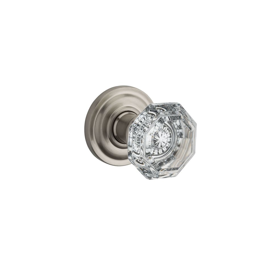 BALDWIN Reserve Crystal Satin Nickel Round Passage Door Knob