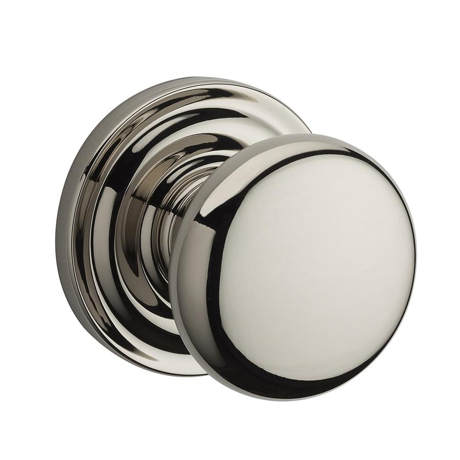 BALDWIN Reserve Polished Nickel Round Push-Button Lock Privacy Door Knob