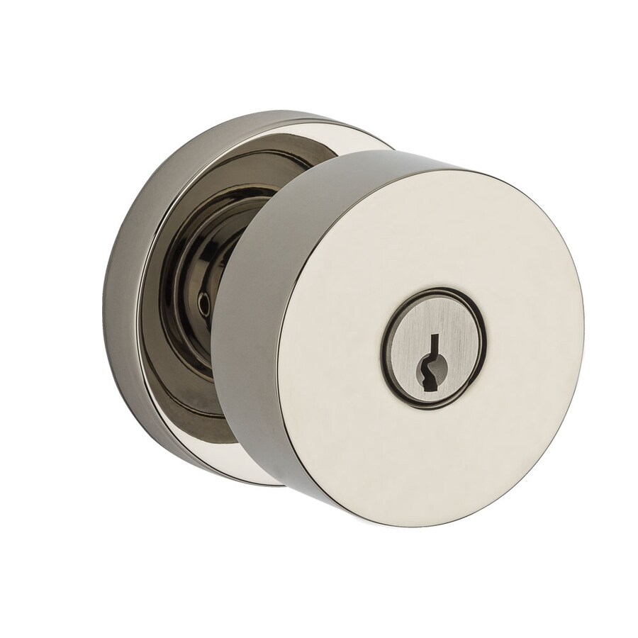 BALDWIN Reserve Contemporary Polished Nickel Keyed Entry Door Knob